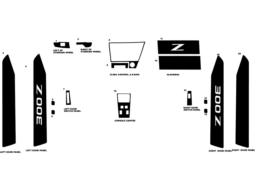 Nissan 300ZX 1984-1985 Dash Kit Diagram
