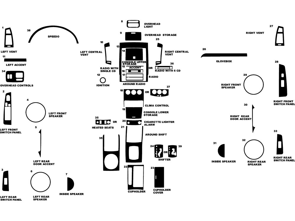 Nissan Altima 2005-2006 Dash Kit Diagram