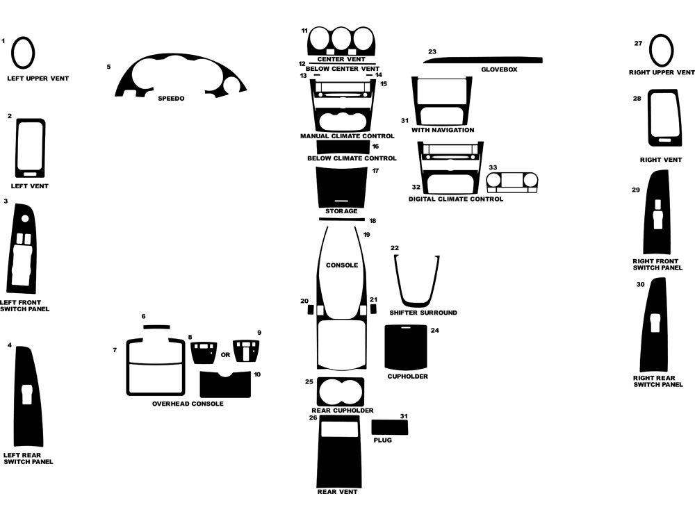 Nissan Altima Sedan 2007-2012 Dash Kit Diagram