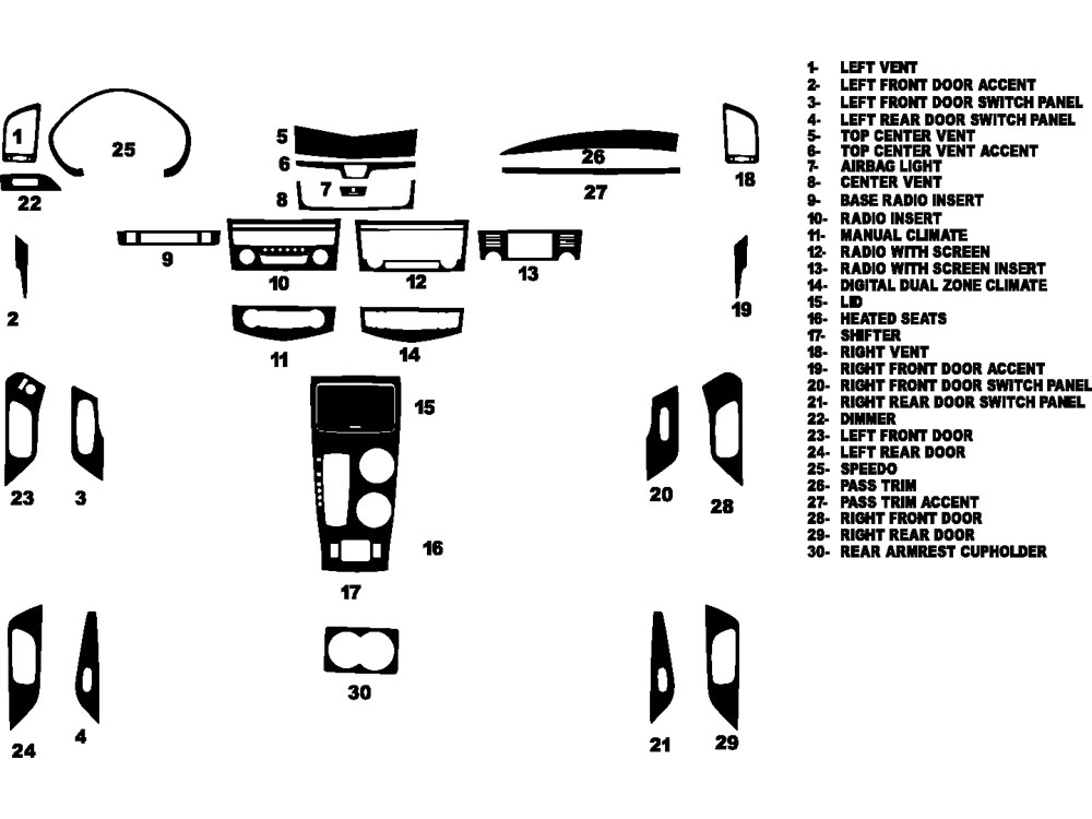Nissan Altima Sedan 2013-2015 Dash Kit Diagram