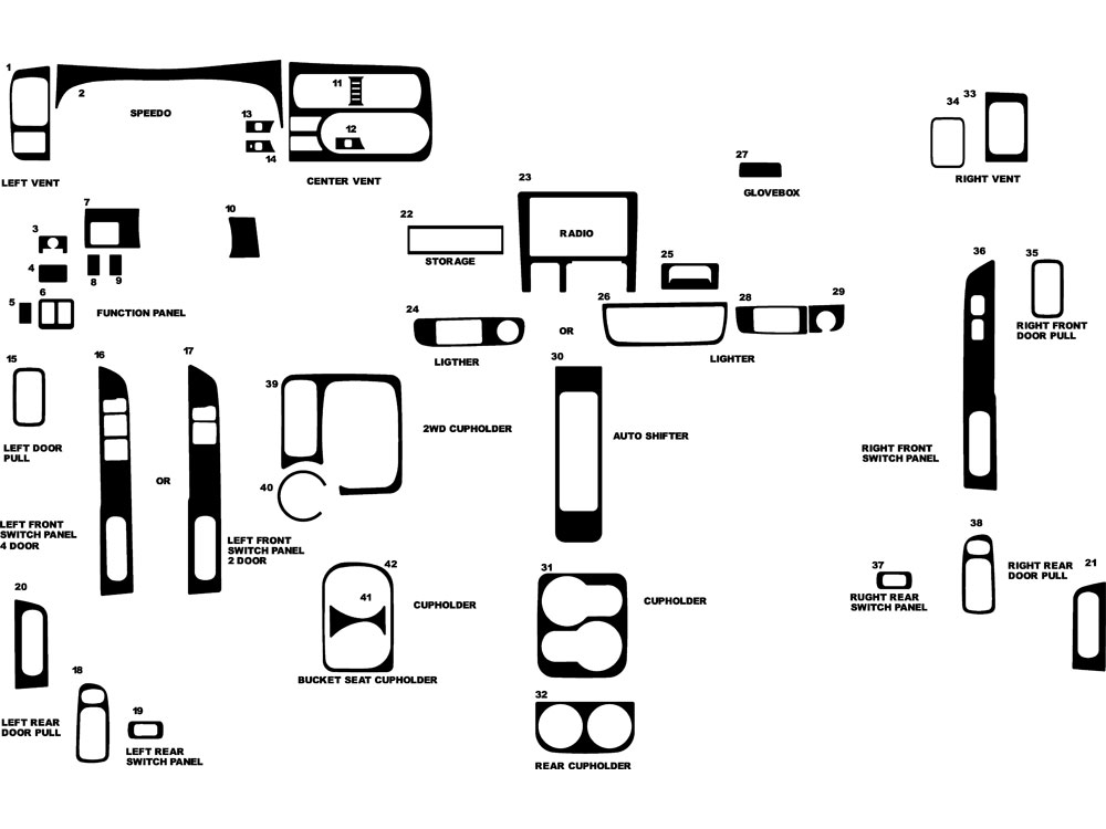 Nissan Xterra 2000-2001 Dash Kit Diagram