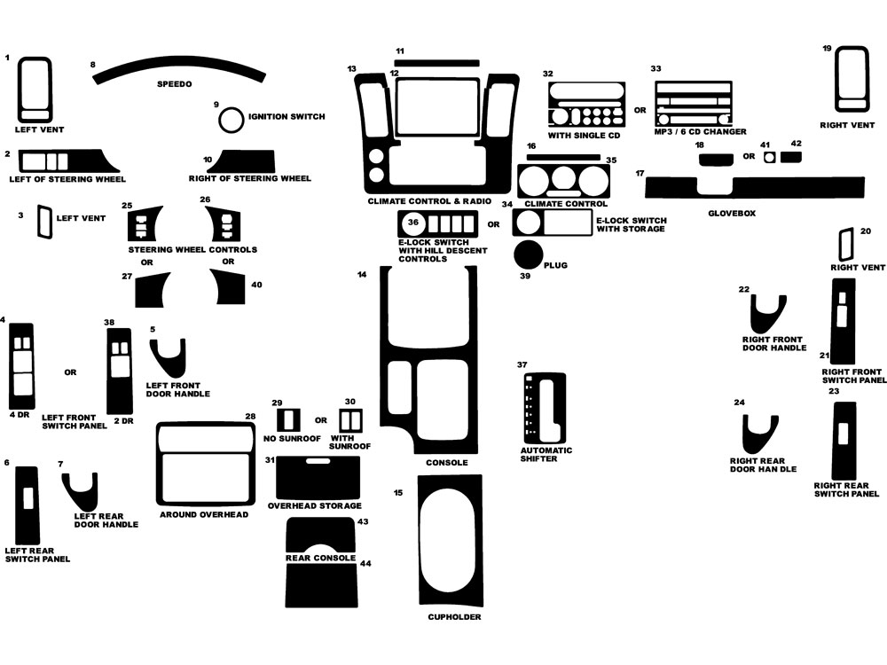 Nissan Frontier 2005-2008 Dash Kit Diagram