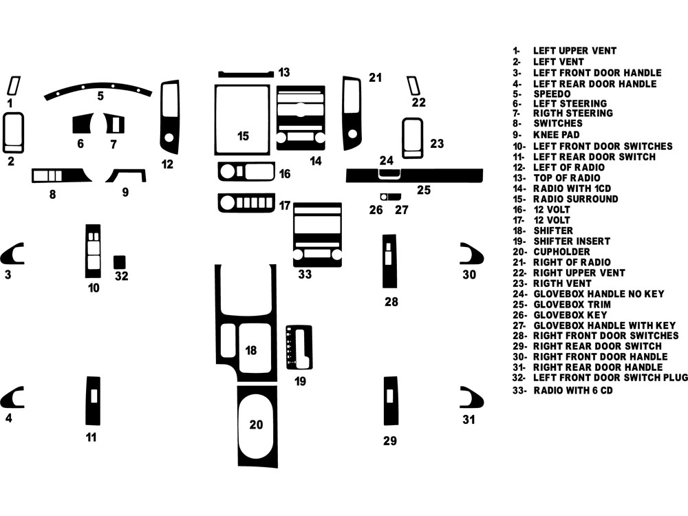 Suzuki Equator 2009-2013 Dash Kit Diagram