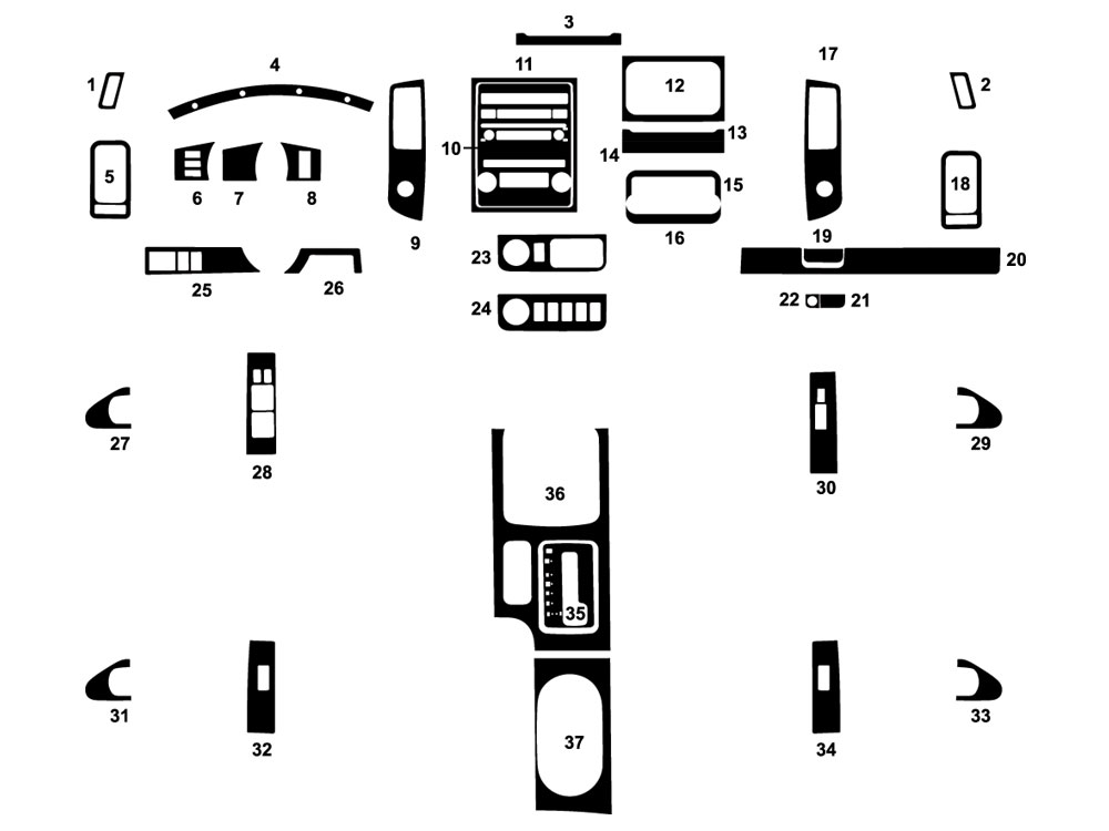Nissan Frontier 2013-2019 Dash Kit Diagram