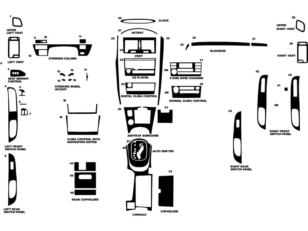 Nissan Maxima 2002-2003 Dash Kit Diagram