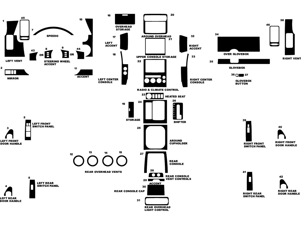 Nissan Pathfinder 2005-2007 Dash Kit Diagram