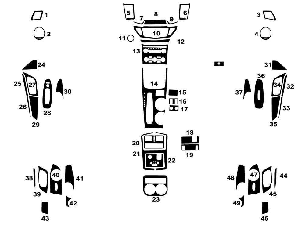 Nissan Pathfinder 2013-2016 Dash Kit Diagram