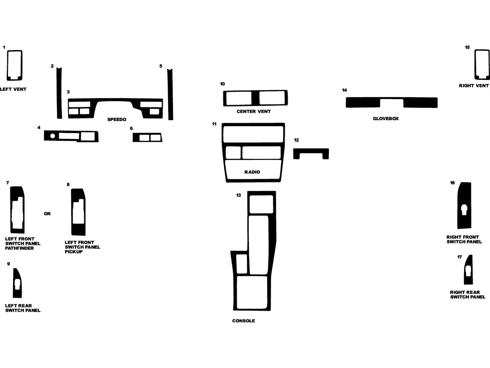 Nissan Pathfinder 1987-1993 Dash Kit Diagram