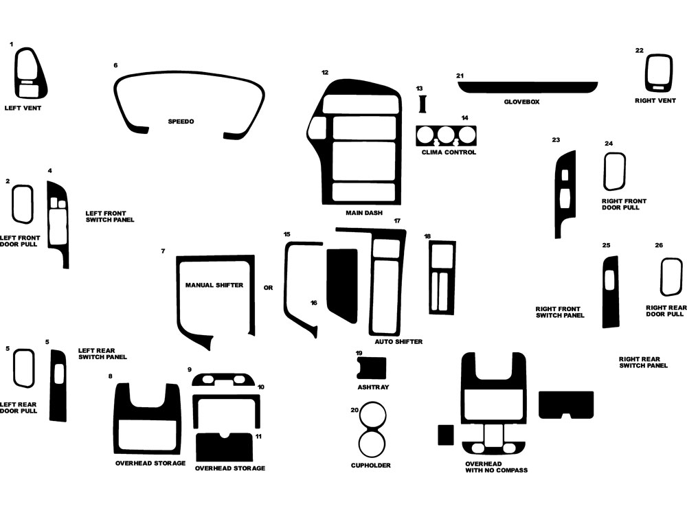 Nissan Pathfinder 1996-2000 Dash Kit Diagram