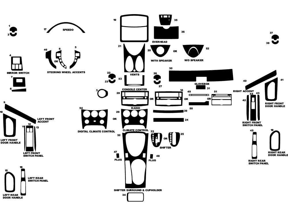 Nissan Rogue 2008-2010 Dash Kit Diagram