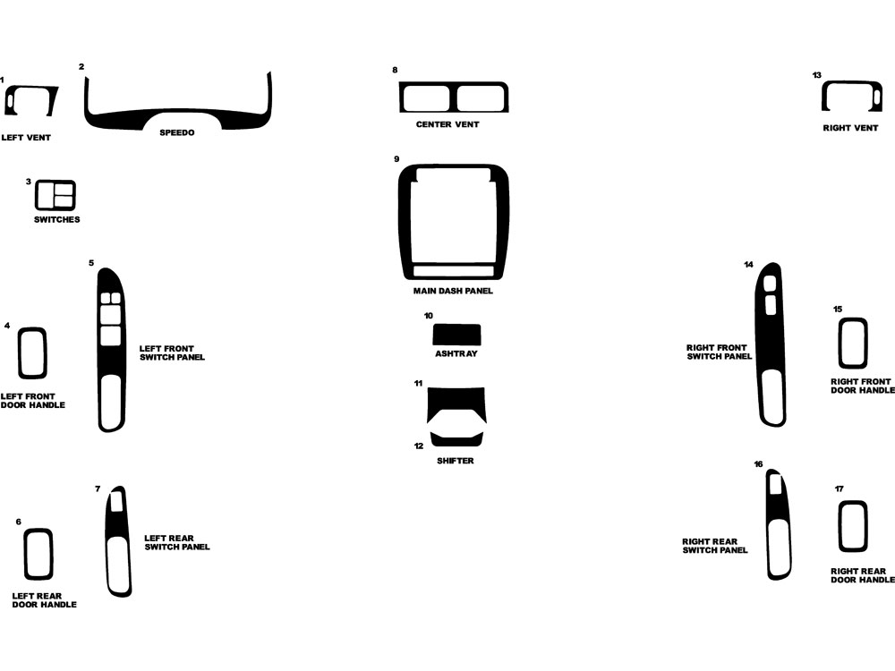 Nissan Sentra 1995-1999 Dash Kit Diagram