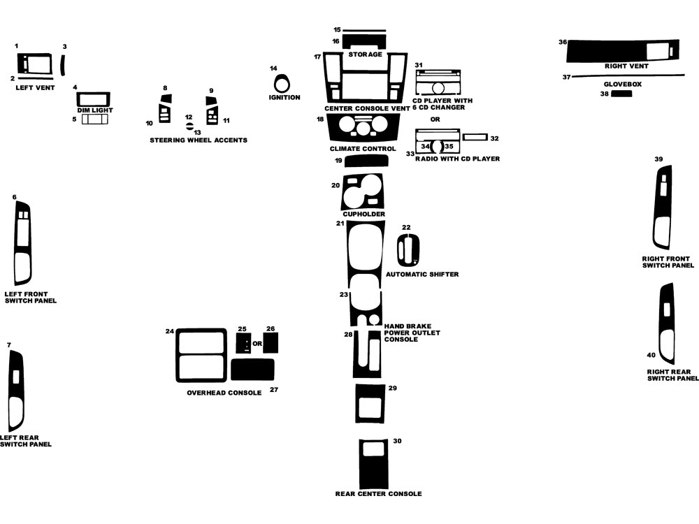 Nissan Versa 2007-2011 Dash Kit Diagram