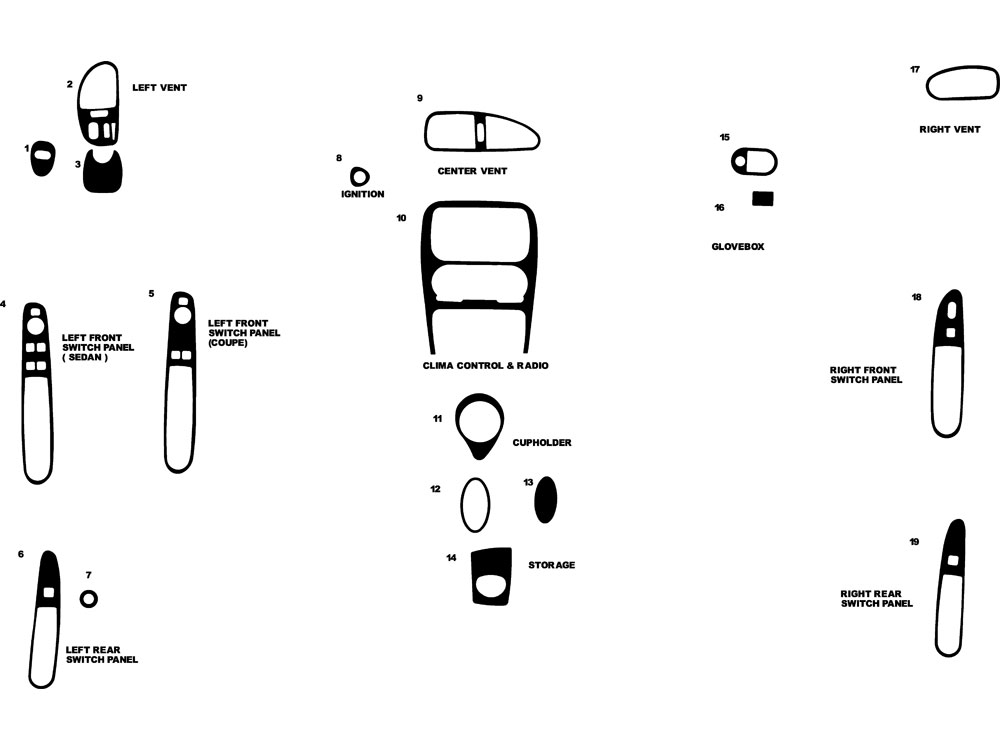 Oldsmobile Alero 1999-2000 Dash Kit Diagram