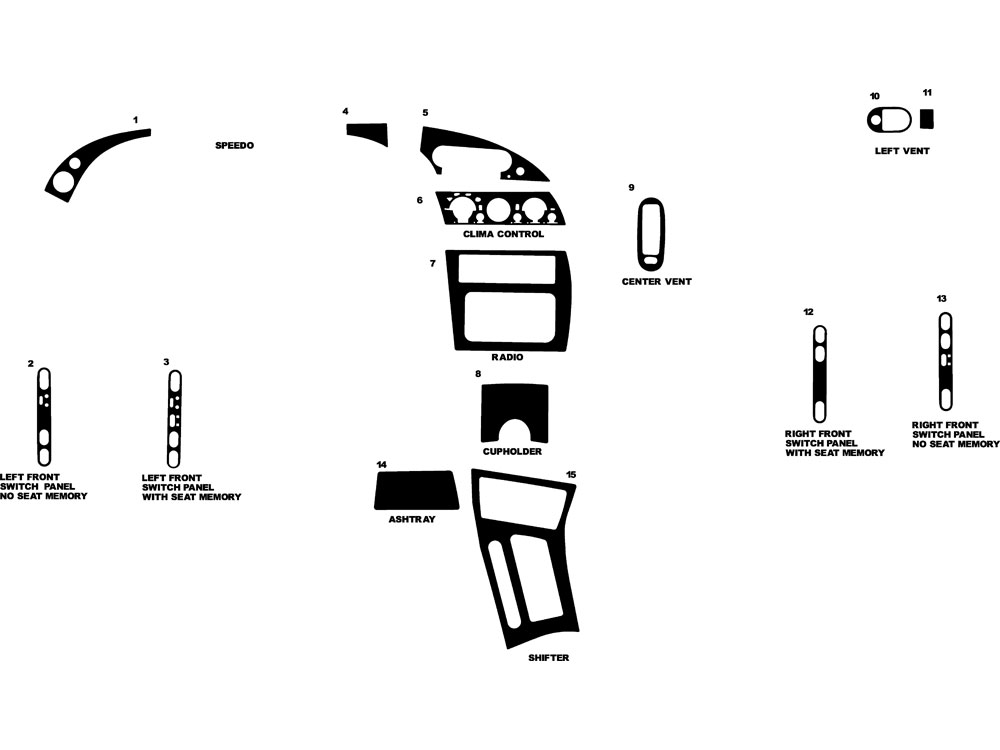 Oldsmobile Aurora 1995-1999 Dash Kit Diagram