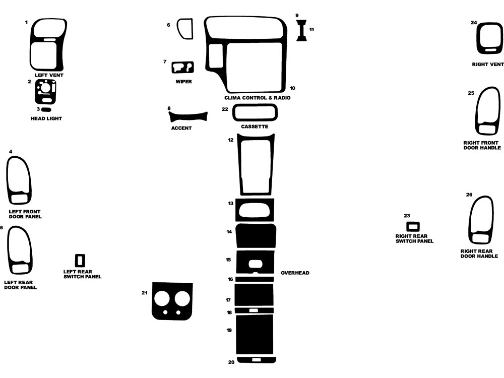 Oldsmobile Bravada 1998-2000 Dash Kit Diagram