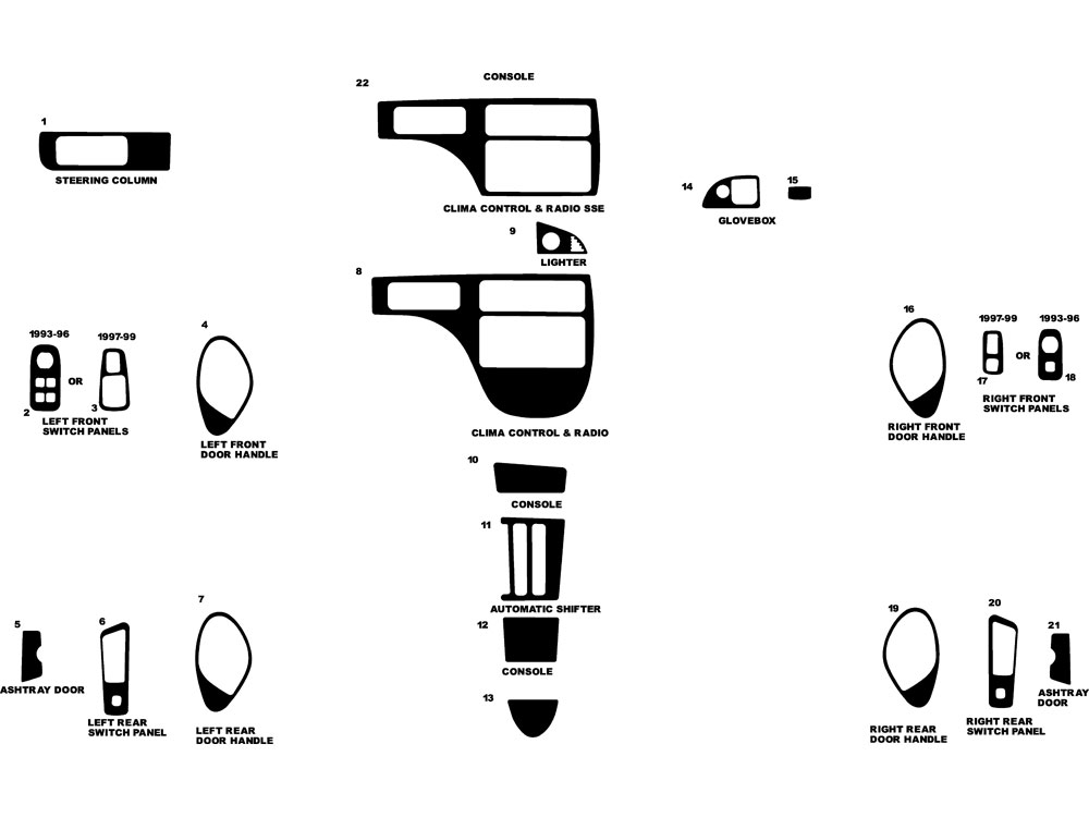 Pontiac Bonneville 1992-1999 Dash Kit Diagram