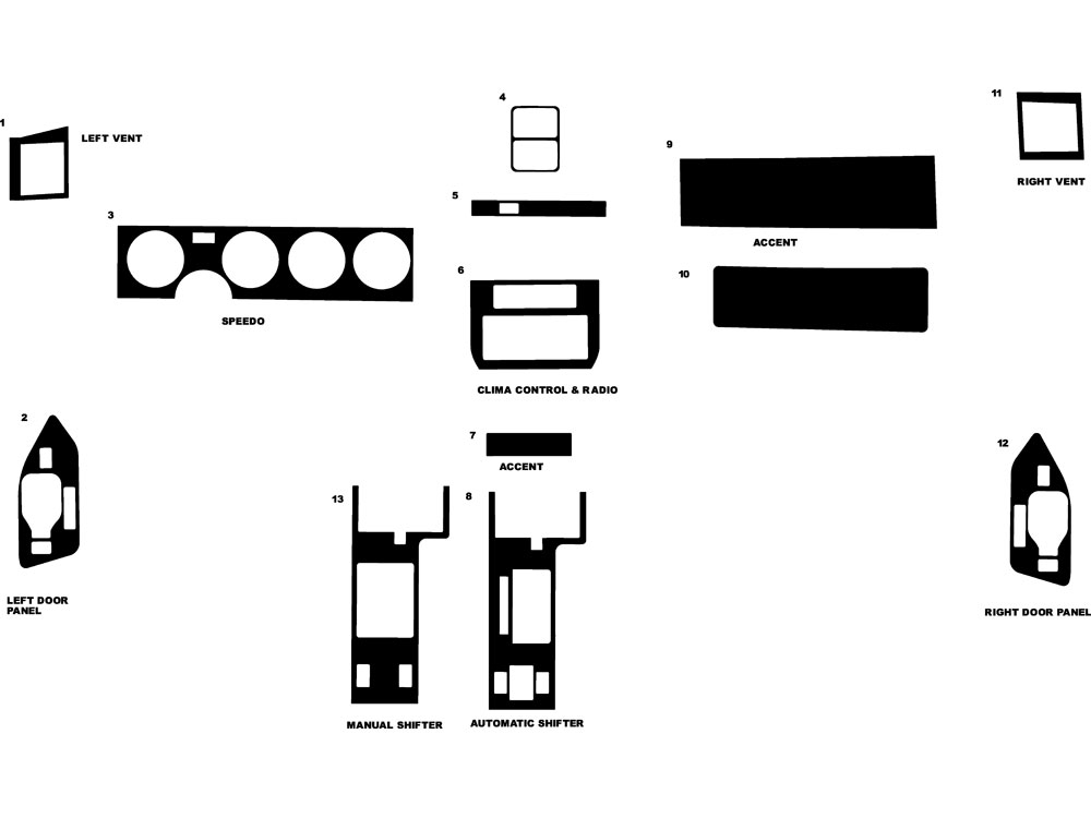 Pontiac Firebird 1985-1992 Dash Kit Diagram