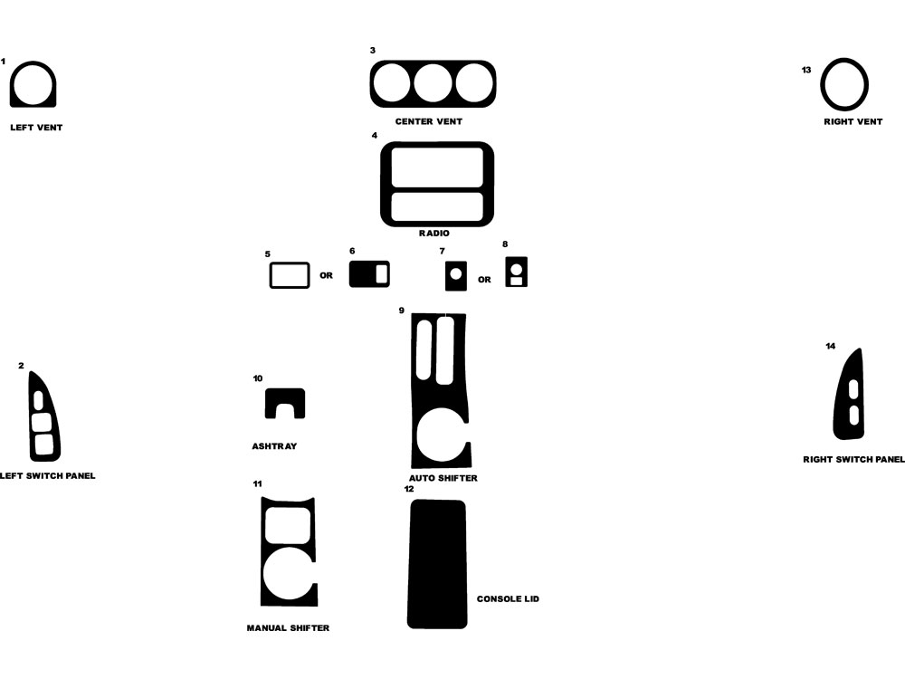 Pontiac Firebird 1997-2002 Dash Kit Diagram