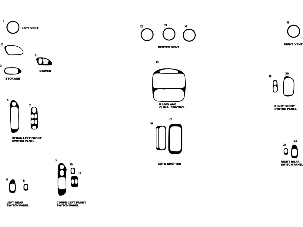 Pontiac Grand Am 1999-2005 Dash Kit Diagram