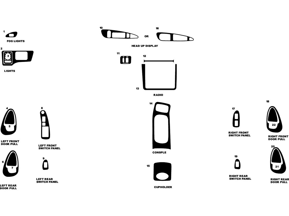 Pontiac Grand Prix 1997-2003 Dash Kit Diagram