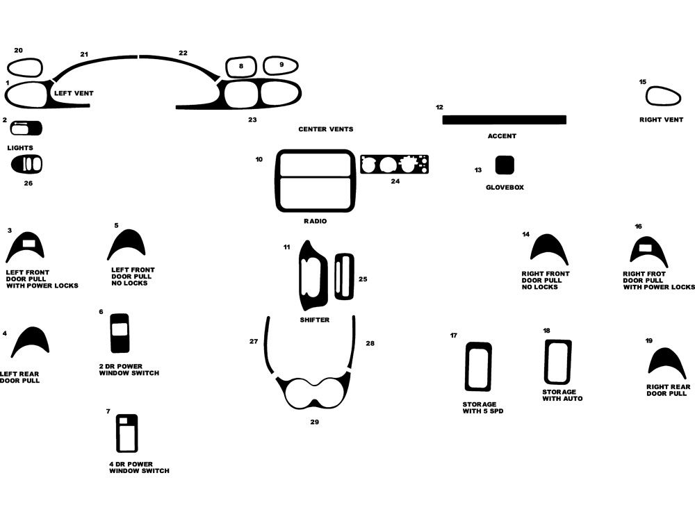 Pontiac Sunfire 1995-2002 Dash Kit Diagram
