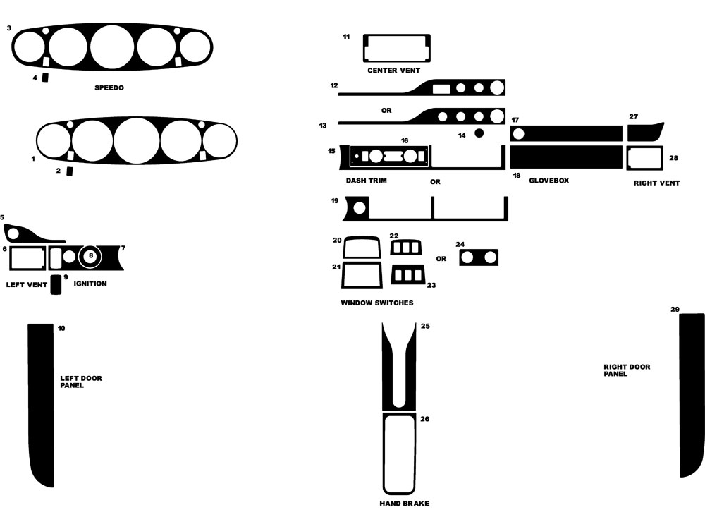 Porsche 911 1989-1997 Dash Kit Diagram