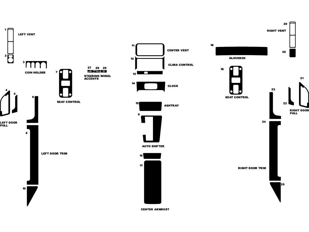 Porsche 928 1978-1989 Dash Kit Diagram