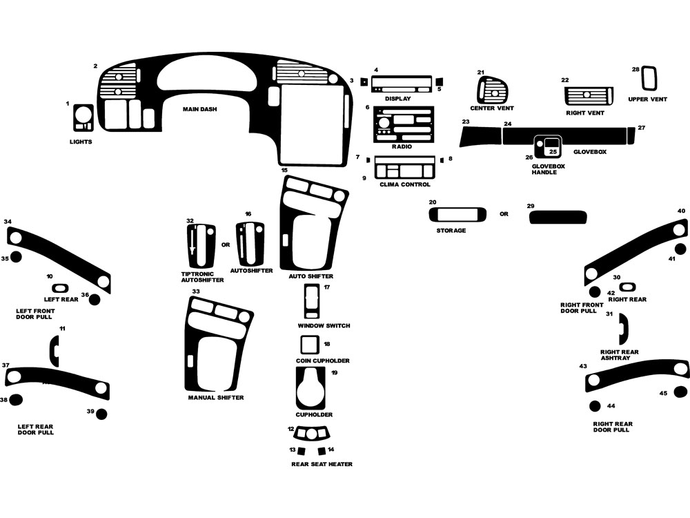 Saab 9-5 1999-2005 Dash Kit Diagram