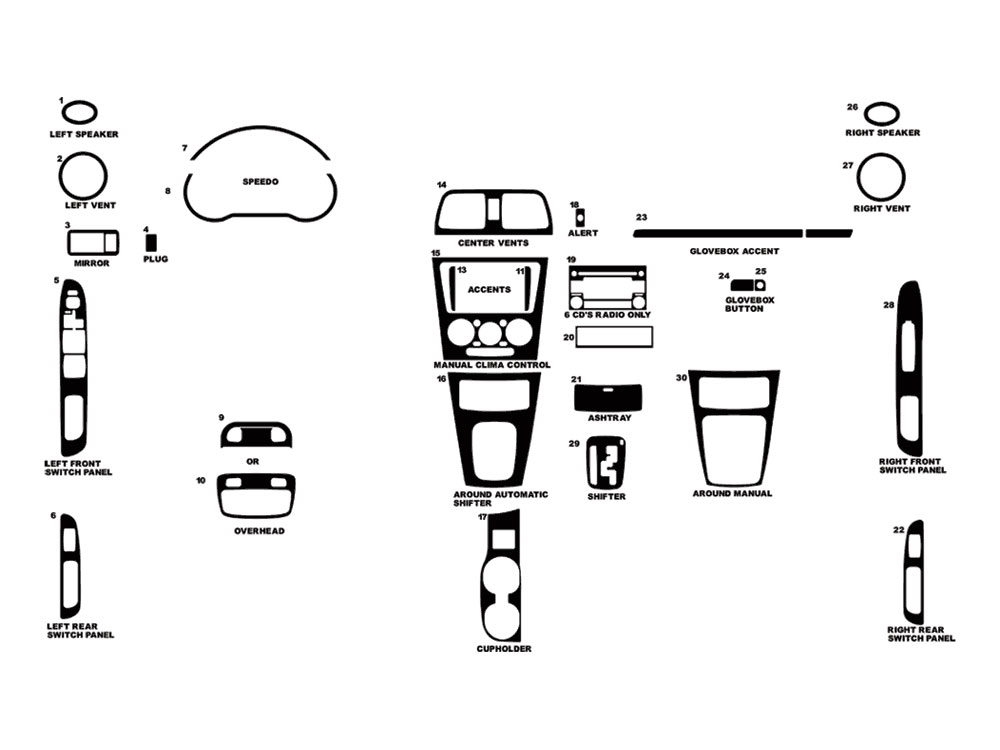 Subaru Impreza 2005-2007 Dash Kit Diagram