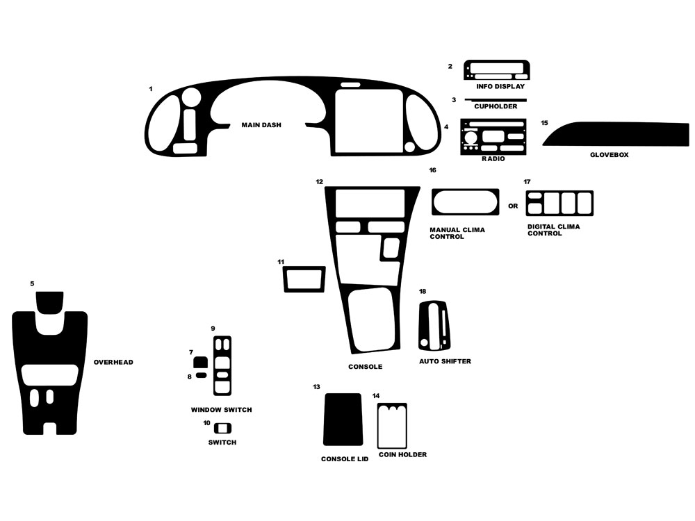 Saab 9-3 1999-2002 Dash Kit Diagram