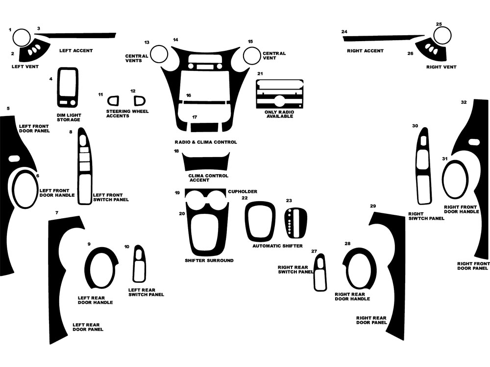 Saturn Ion Sedan 2006-2007 Dash Kit Diagram