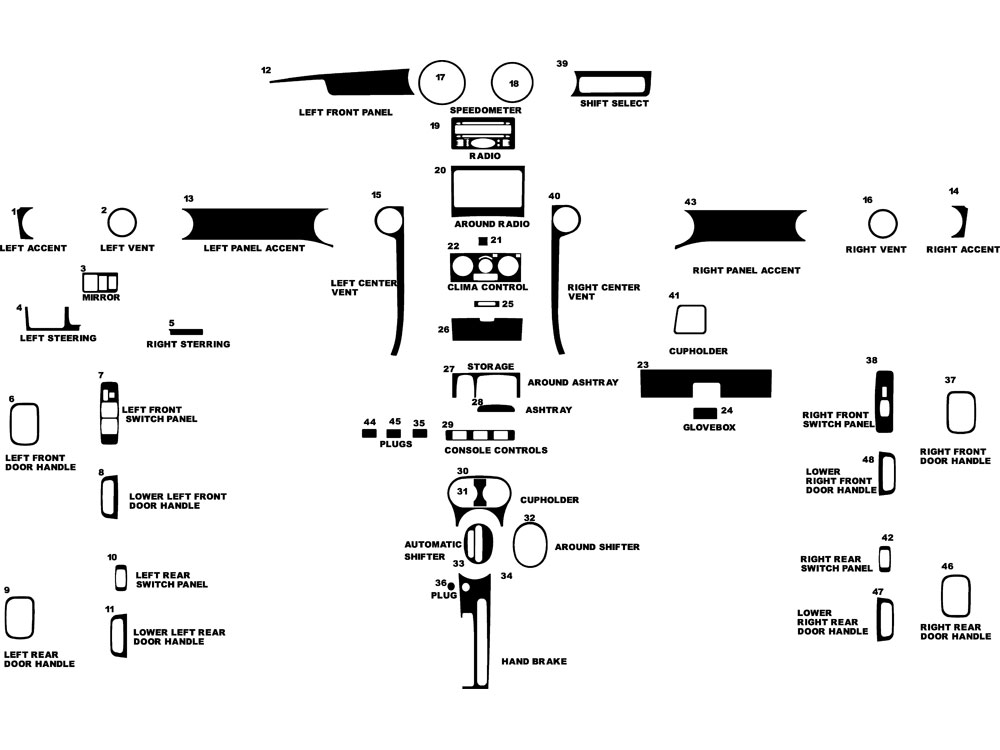 Scion xB 2004-2006 Dash Kit Diagram