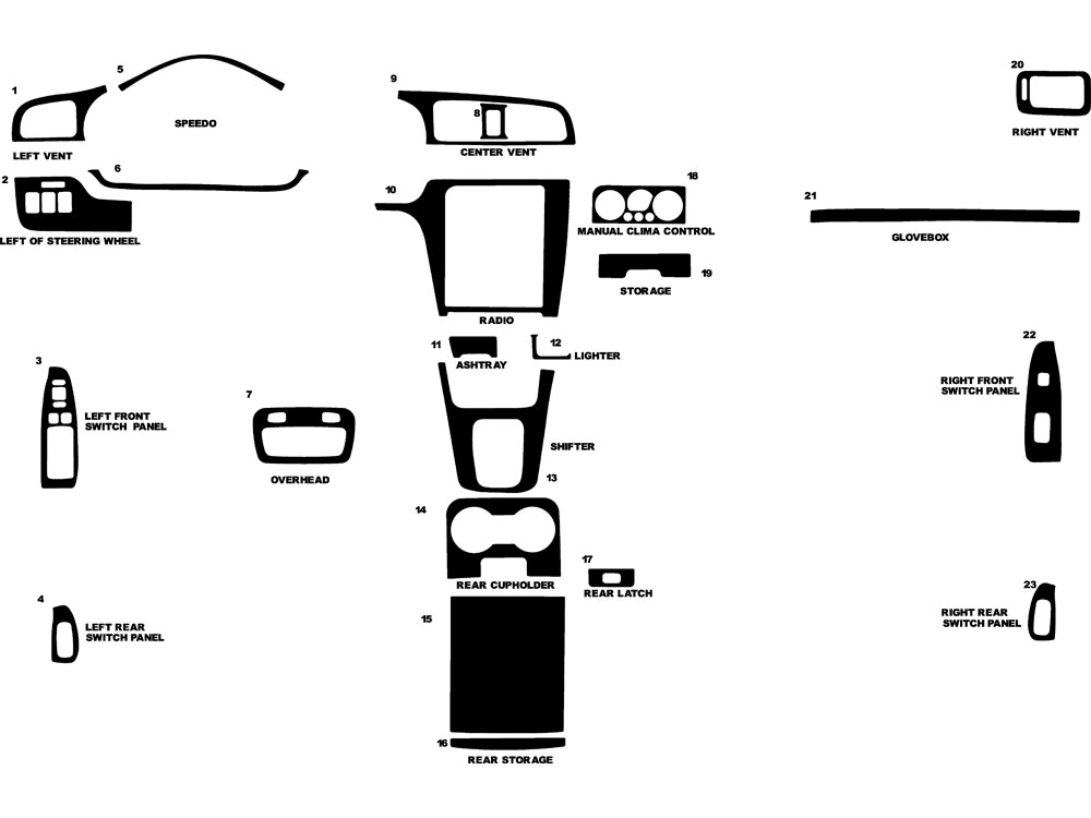 Subaru Baja 2003-2006 Dash Kit Diagram