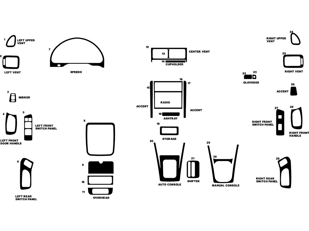 Subaru Forester 1998-2002 Dash Kit Diagram