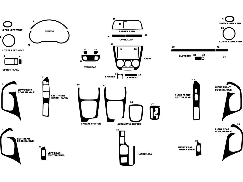 Subaru WRX 2002-2004 Dash Kit Diagram