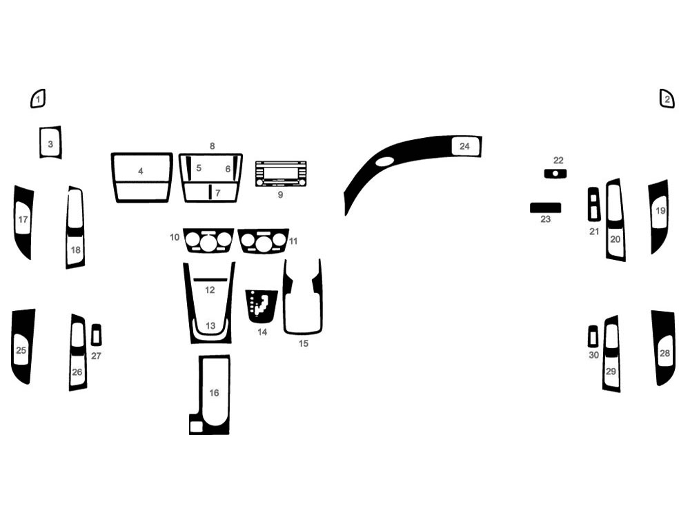 Subaru WRX 2008-2011, 2013-2015 Dash Kit Diagram
