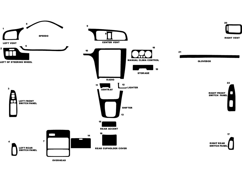 Subaru Legacy 2000-2004 Dash Kit Diagram