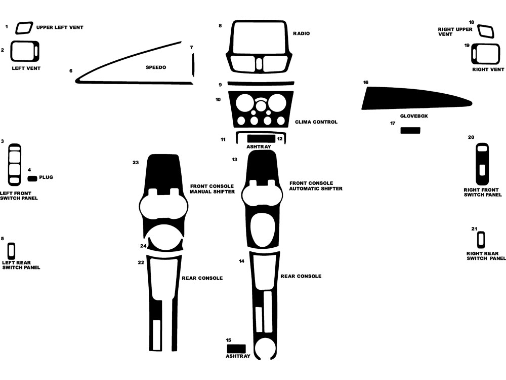 Suzuki Aerio 2003-2004 Dash Kit Diagram