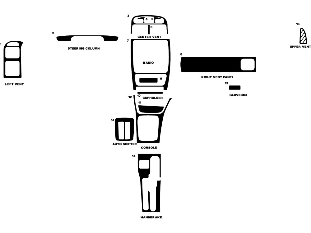 Suzuki Esteem 2000-2002 Dash Kit Diagram
