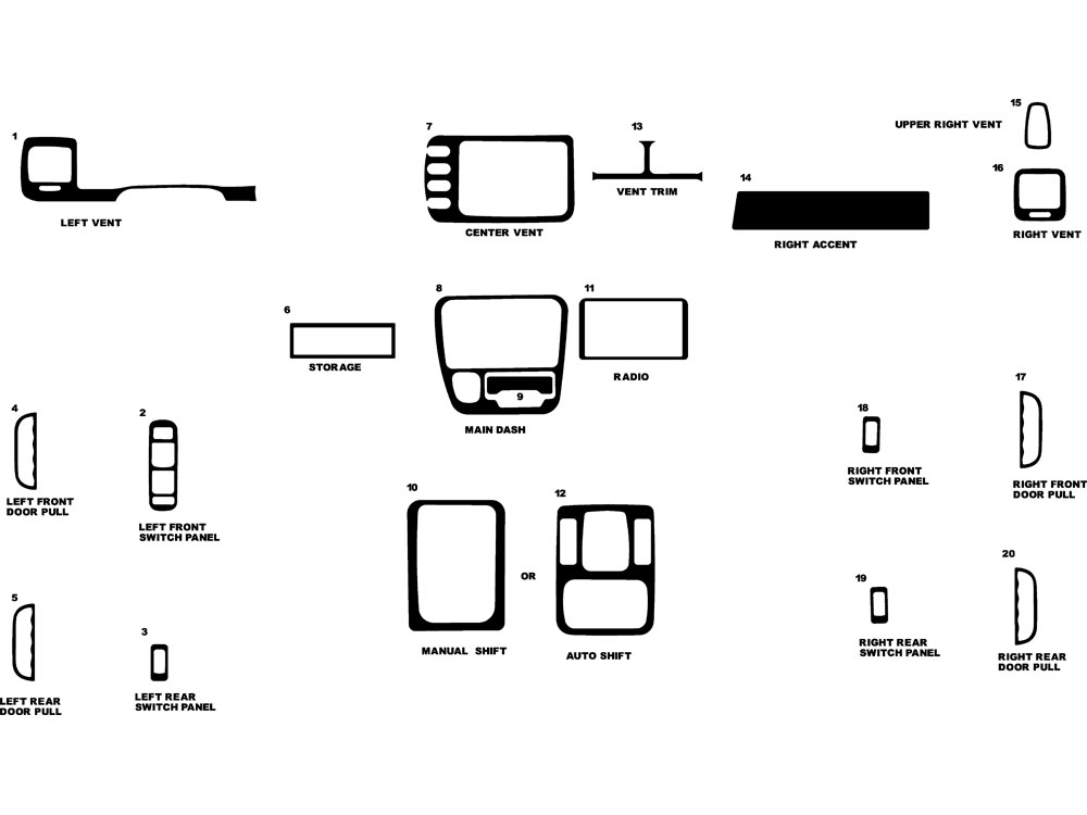 Suzuki Vitara 1999-2004 Dash Kit Diagram