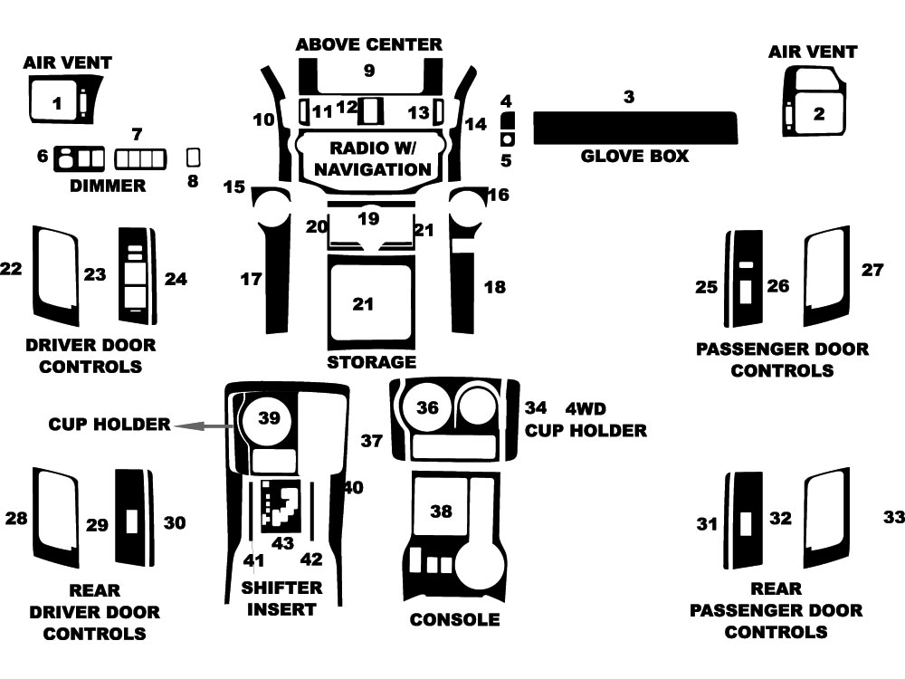 Toyota 4Runner 2014-2019 Dash Kit Diagram