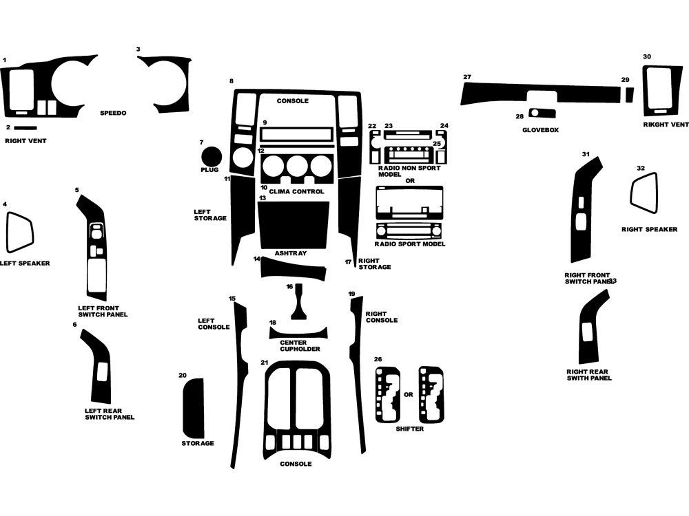 Toyota 4Runner 2006-2009 Dash Kit Diagram