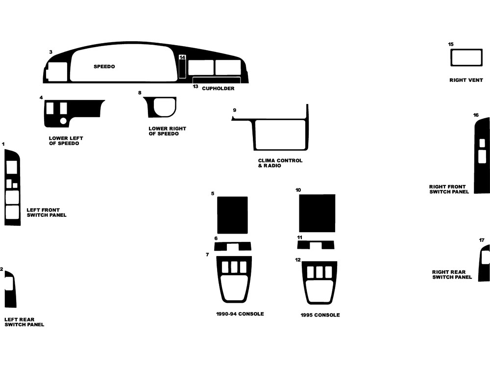 Toyota 4Runner 1990-1995 Dash Kit Diagram
