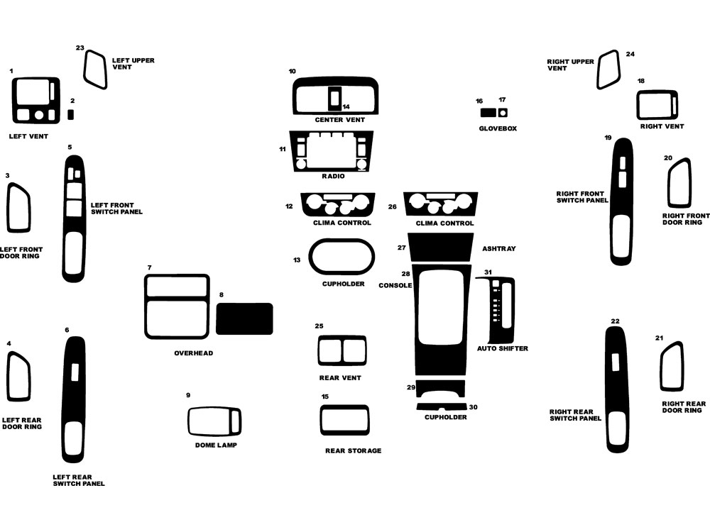 Toyota Avalon 2000-2004 Dash Kit Diagram