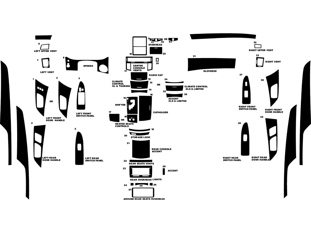 Toyota Avalon 2005-2009 Dash Kit Diagram