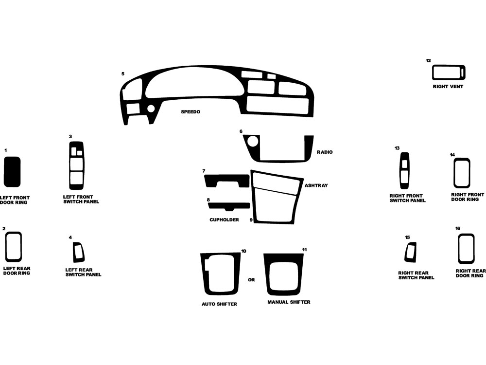 Toyota Camry 1992-1996 Dash Kit Diagram