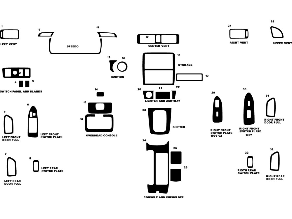 Toyota Camry 1997-2001 Dash Kit Diagram