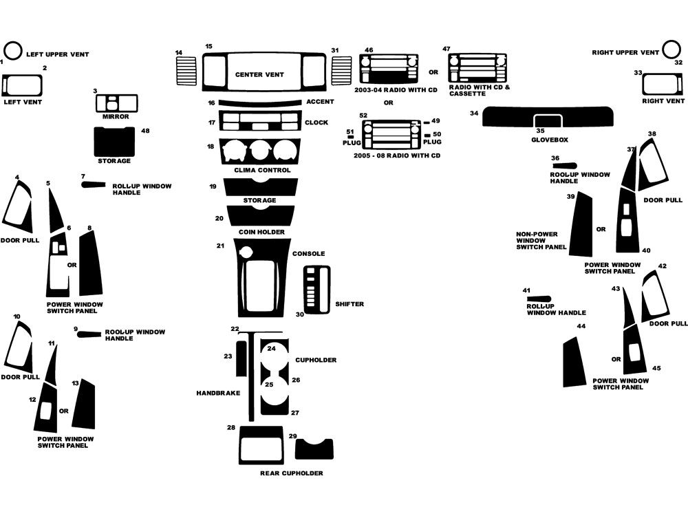 Toyota Corolla 2003-2008 Dash Kit Diagram