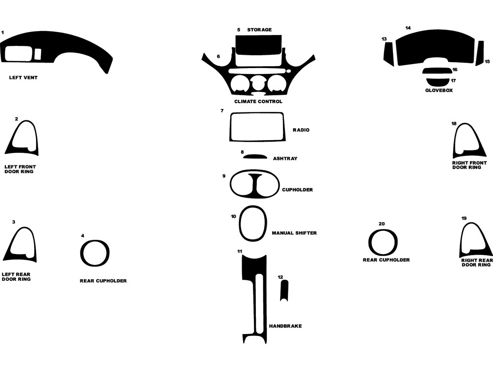 Toyota Echo 2000-2005 Dash Kit Diagram