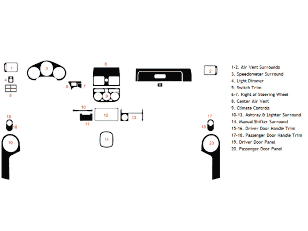 Toyota MR2 1991-1995 Dash Kit Diagram